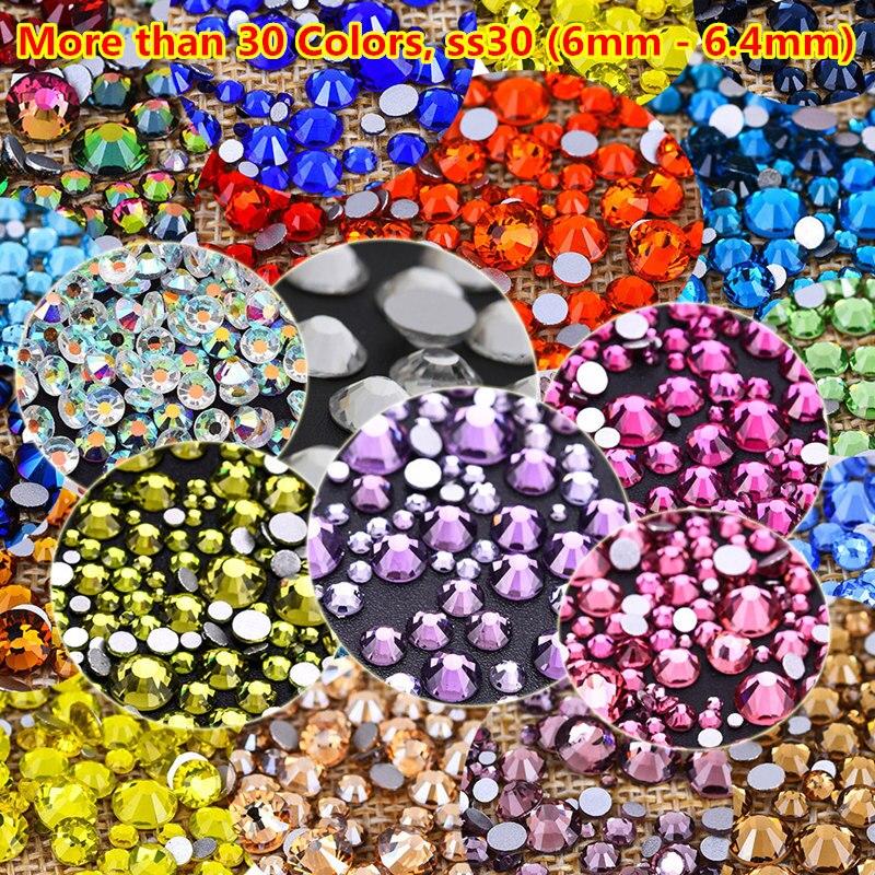 30 colores ab rojo transparente 3D arte de uñas de diamantes de imitación de ss30 de cristal de diamantes de imitación para decoración de uñas de Cristal Swarovski no Hotfix arte de uñas decoraciones