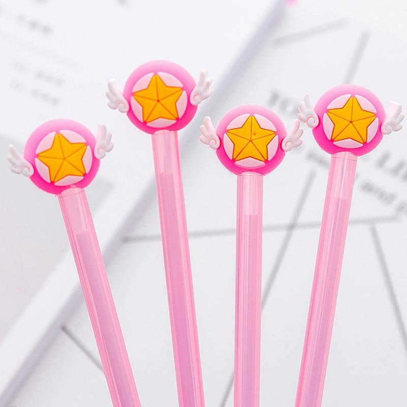 24 piezas Corea Mocha chica estrella cetro Gel pluma linda chica estudiante alas estrella negro pluma Kawaii suministros escolares pluma para escribir