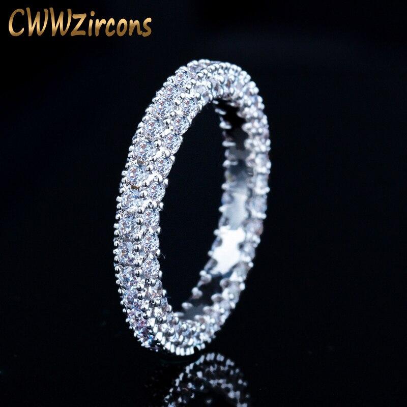 CWWZircons Impressionante Cor Prata Cheio Micro Pave Cubic Zirconia Anéis de Noivado para As Mulheres Moda Acessórios Jóias R104
