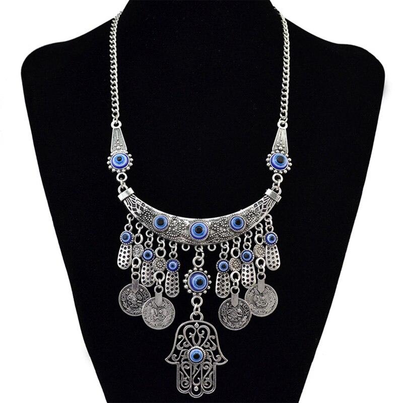 Женское Ожерелье с ручной подвеской Fatima, винтажное ожерелье в стиле ретро с серебряным покрытием, модные украшения