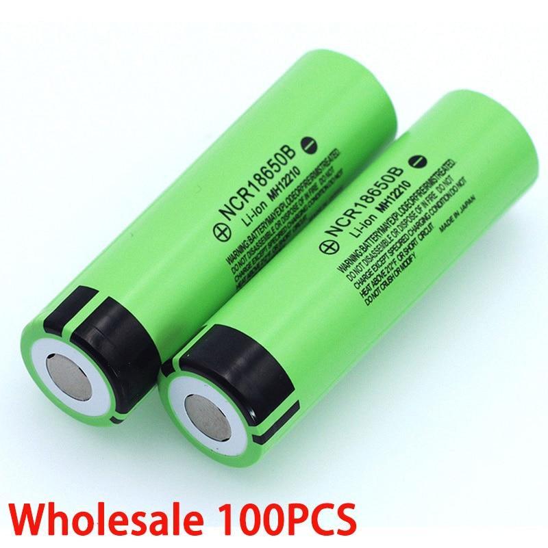 بطارية ليثيوم قابلة لإعادة الشحن NCR18650B ، 100 فولت ، 3.7 مللي أمبير ، 3400 ، لمصباح يدوي ، أصلي ، جديد ، 18650