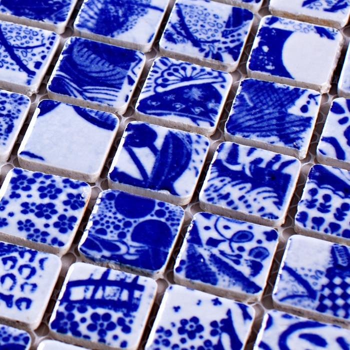 Mosaico de porcelana azul y blanca de cerámica HMCM1035 para respaldo de malla de pared de baño piso de cocina backsplash