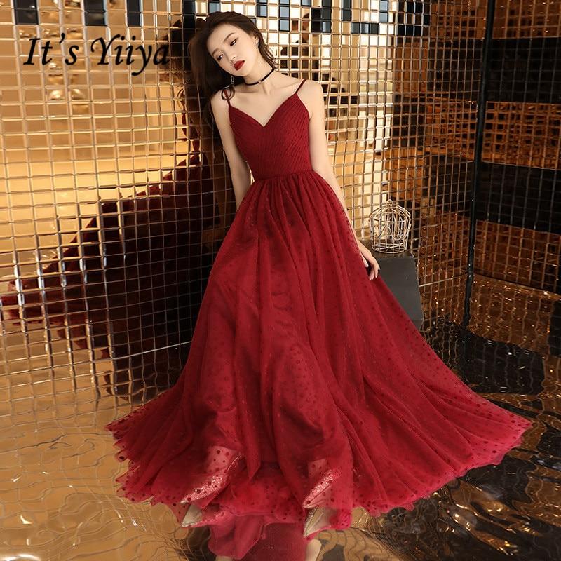 It's YiiYa-فستان سهرة مثير ، فستان سهرة ، ياقة على شكل v ، طباعة منقطة ، أحزمة سباغيتي ، طول الأرض ، E040