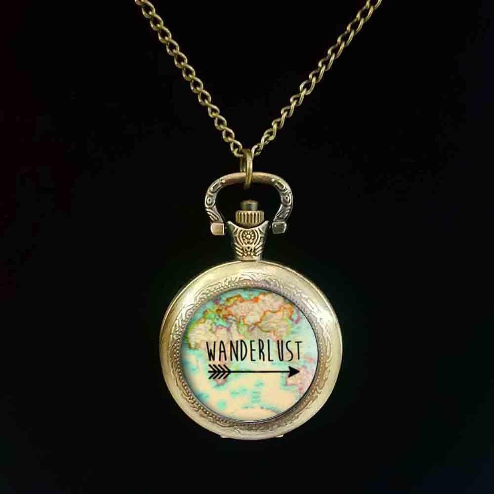 Wanderlust-reloj de bolsillo con cabujón, mapa de costura, collar de cristal de...