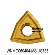 MITSUBISHI WNMG060404-MS US735 Inserts en carbure WNMG060404 WNMG 060404 pour outils de coupe de tour CNC outil de tournage en aluminium