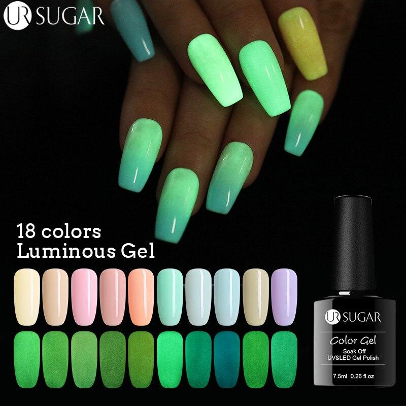 Azúcar UR 7,5 ml Gel luminoso esmalte de uñas fluorescente brillo en la oscuridad UV Gel barniz verano Color UV Gel barniz