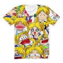 Sailor Meow der Gesichter Kawaii Frauen T-shirt Rosa Gelb Sommer Streetwear Alten Schule Anime T-shirt Nette Mädchen Klassische Top Plus größe
