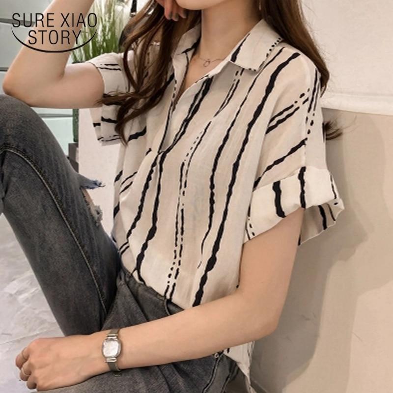 New 2020 Summer V Collar Stripe Printing Shirt Women Blouse Shirt Chiffon Short Sleeve Sexy Female Clothing Blusas Tops 0751 30