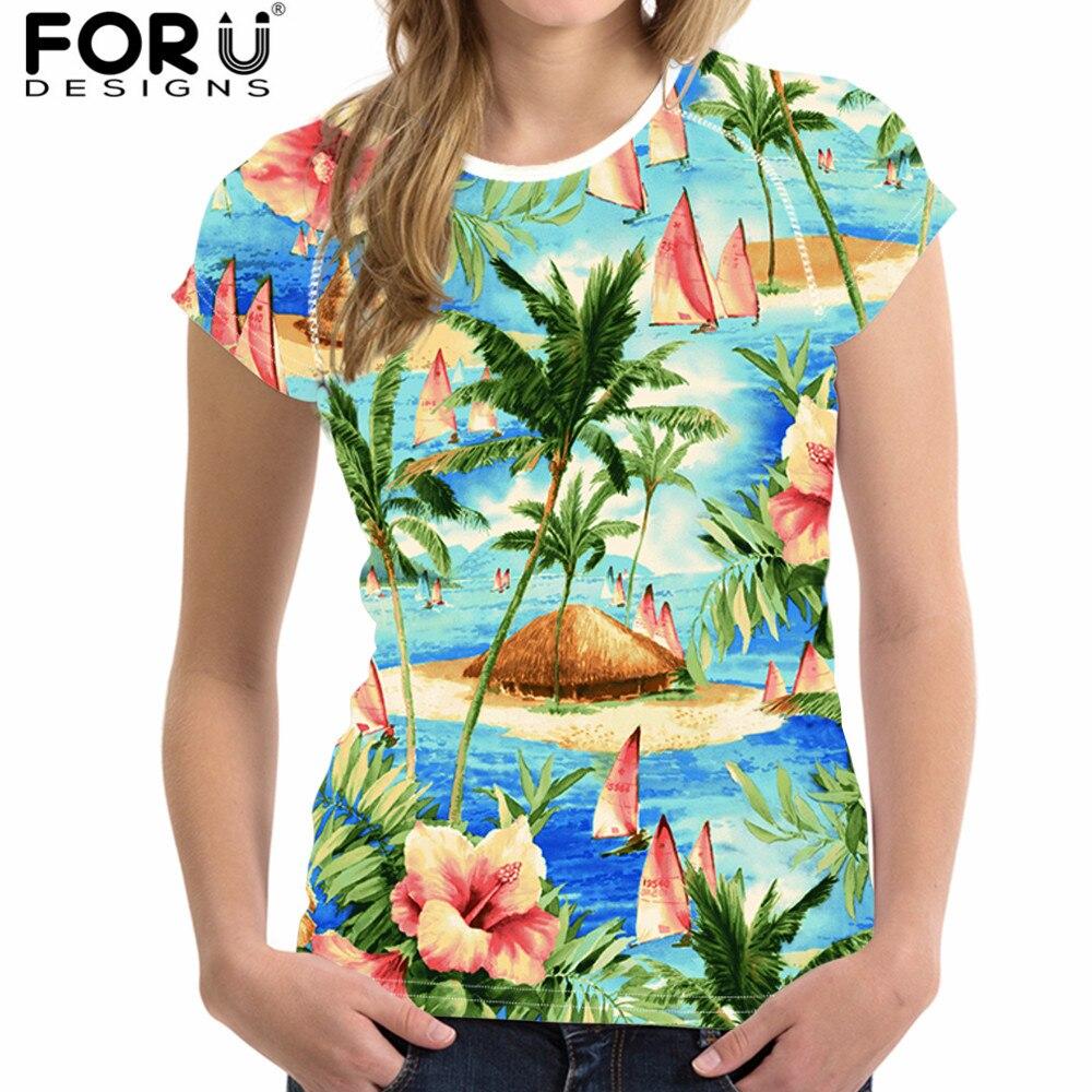 FORUDESIGNS verano Hawaiano mujer camiseta Tropical estampado forestal manga corta Mujer camiseta Casual cuello redondo Camiseta para niñas