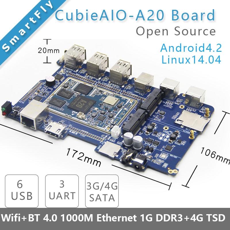 Cubieaio a20 placa open source tudo em um mini computador embutido android linux uart x4 usb x6 allwinner a20, braço placa de demonstração