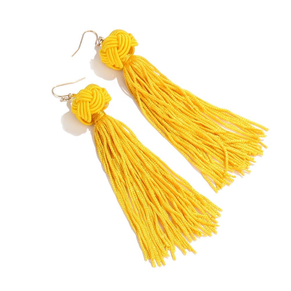 Купить с кэшбэком 2019 Boho Ethnic Tassel Dangle Earrings For women Black Red Yellow Green Pink Long Cotton Drop Ear hook statement Jewelry
