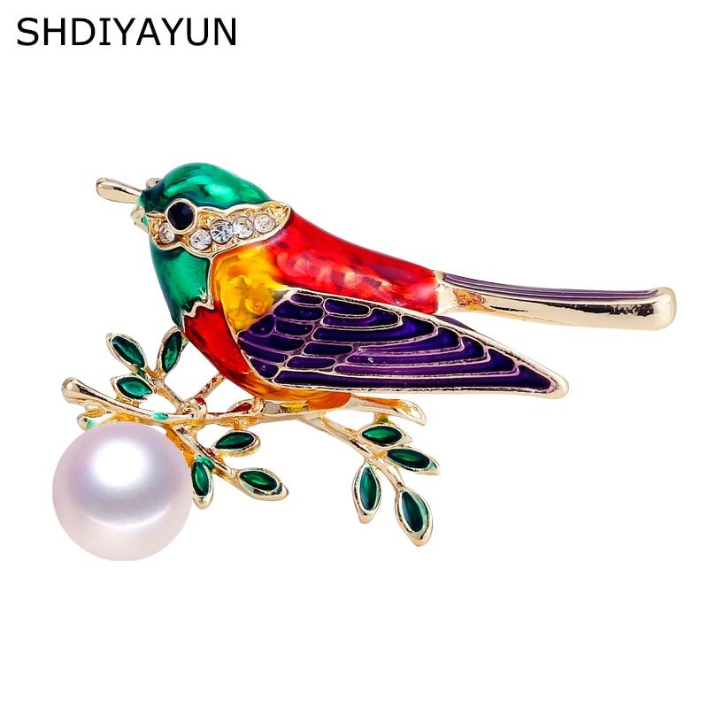 Женская Винтажная брошь SHDIYAYUN, Винтажная брошь из эмали в виде птицы с жемчугом из натурального пресноводного жемчуга