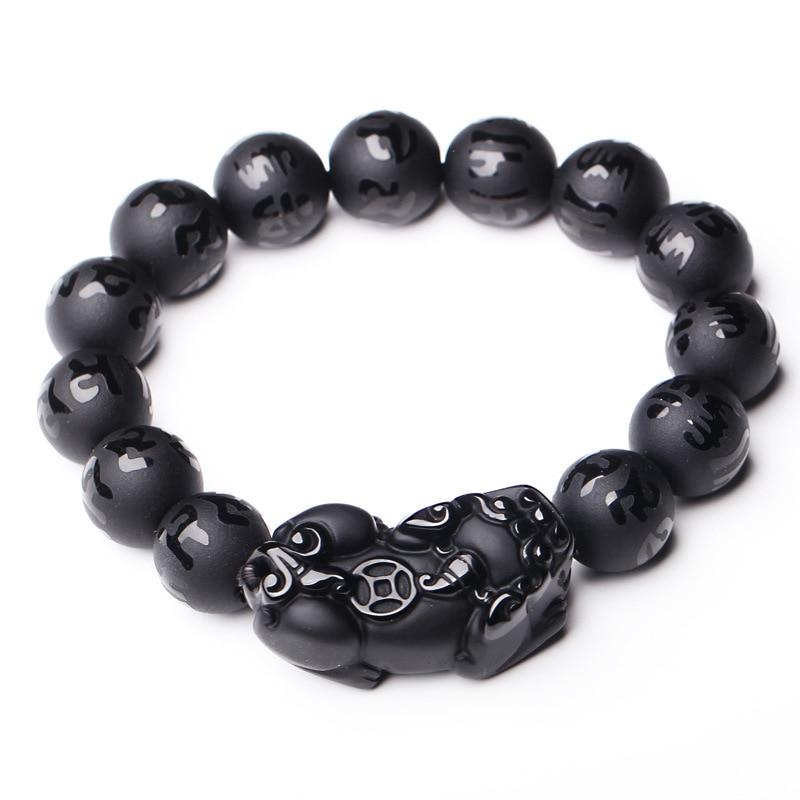 Wholesale JoursNeige Black Natural Obsidian Stone Bracelets Six Words Buddha Beads Pixiu Bracelet for Men Women Bracelet Jewelry