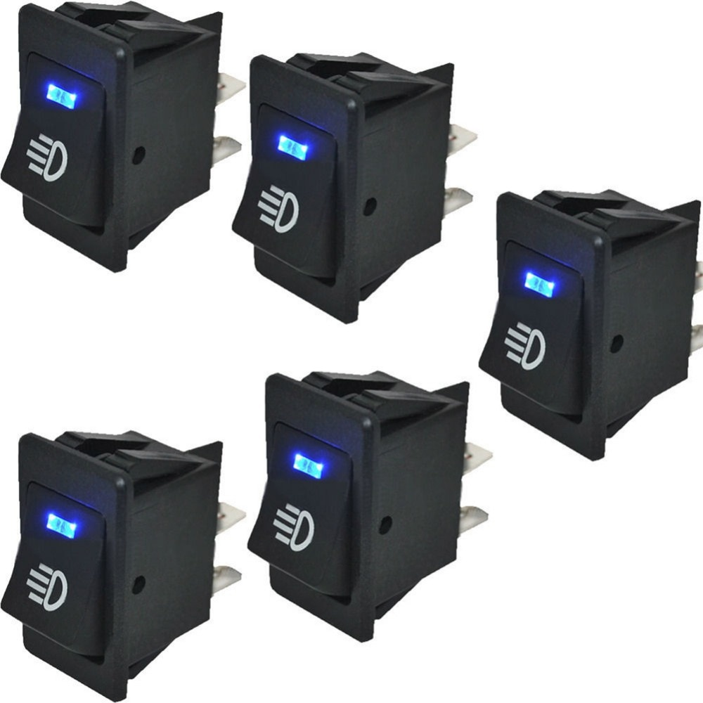 5 pcs 12V 35A Push Button Switch ON OFF 4 Pin 4P Blue LED Light Universal Car Auto Dash Dashboard Fog Lights Rocker Switches