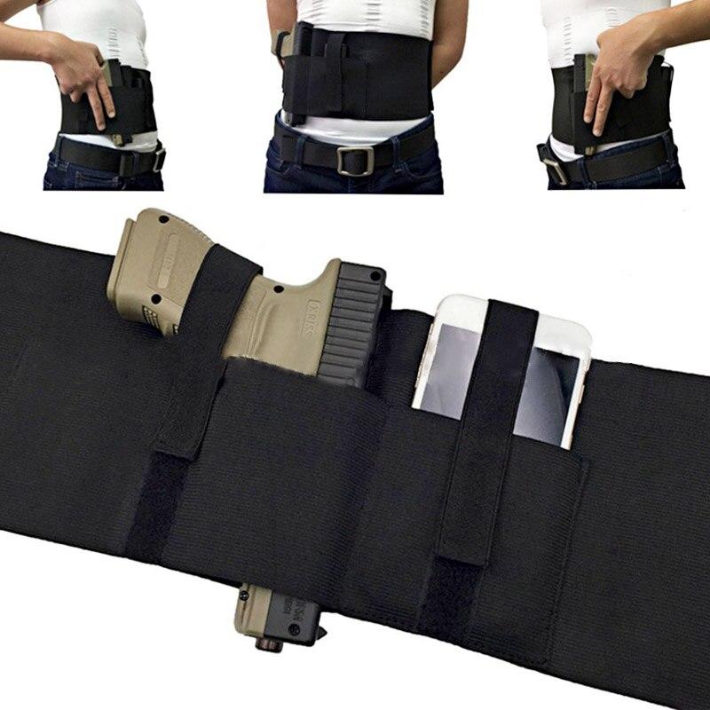 Pistola táctica para el vientre, Banda de la cintura elástica para la mano izquierda y derecha, funda de pistola ajustable BK
