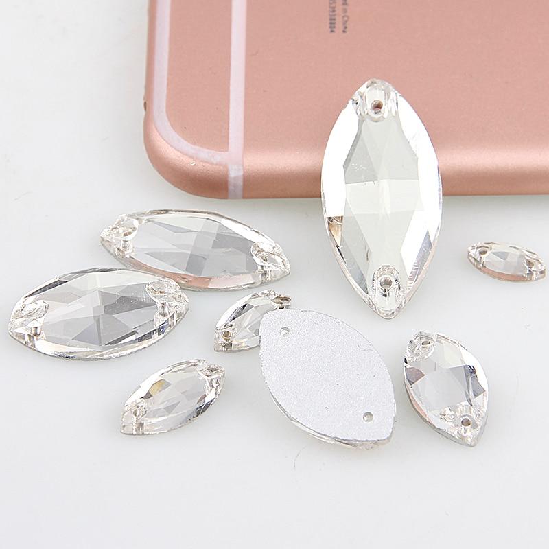 Ojo de caballo piedras para coser con 2 agujeros Crystal Clear Flatback Rhinestone para DIY boda decoración de ropa accesorio