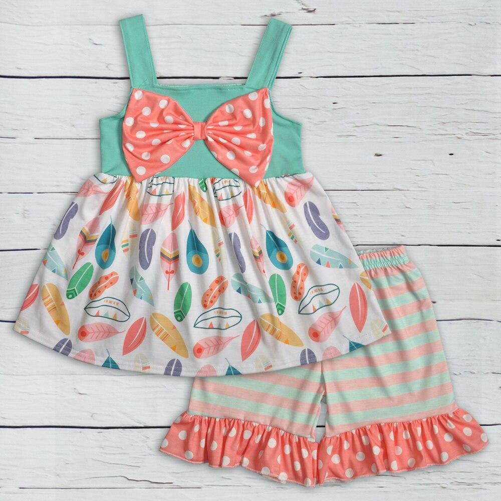 Conjunto de ropa de verano con diseño de plumas para niñas pequeñas, pantalones cortos de Boutique con lazo, conjunto de trajes de Remake para bebés 2GK904-1230-HY