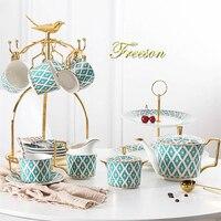 Gold Painted Bone China Coffee Set Luxury Porcelain Tea Set Pot Cup Ceramic Mug Sugar Bowl Creamer Teapot Milk Jug Coffeeware
