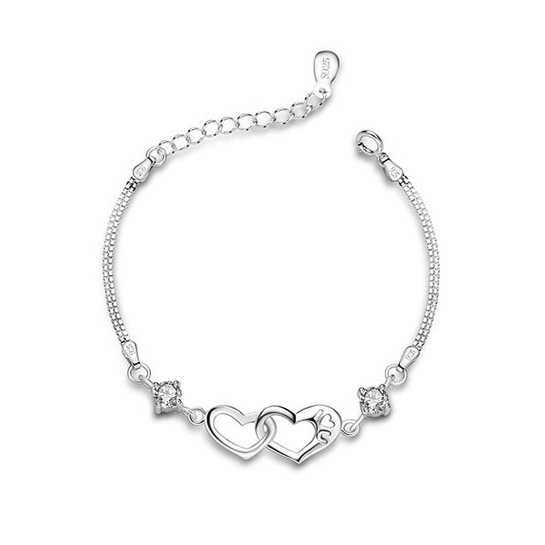 """Посеребренный стерлингового серебра &quotСердце рядом с сердцем"""" дамы браслет"""