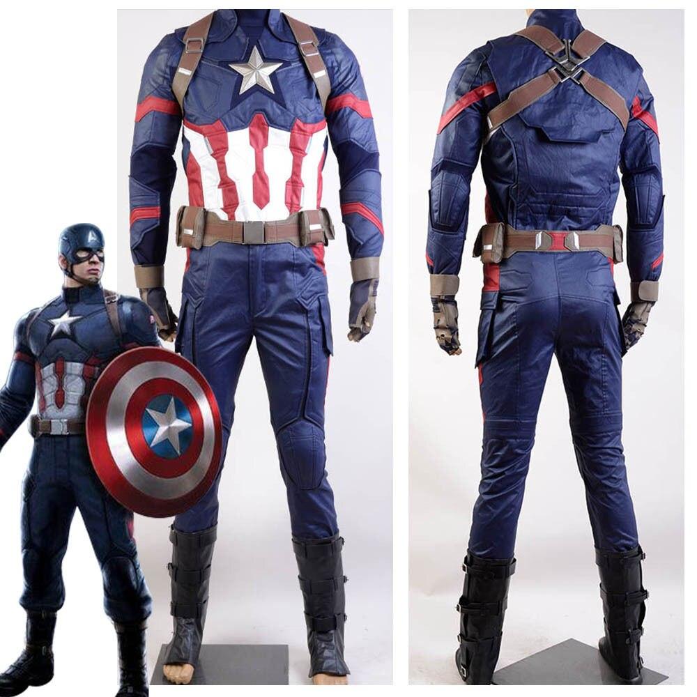 Disfraz de Cosplay de uniforme de Steve Rogers de la Guerra Civil Americana para hombres juegos completos de Cosplay de Halloween hechos a medida
