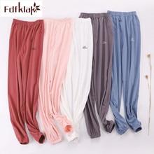 Fdfklak coton pyjama pantalon pour femmes printemps automne dormir pantalon salon porter pantalon maison pantalon lâche grande taille pijama pantalon