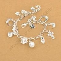 exquisite top quality 100 925 sterling silver charm pendants woman braceletnice cross moon heart clock pendant jewelry