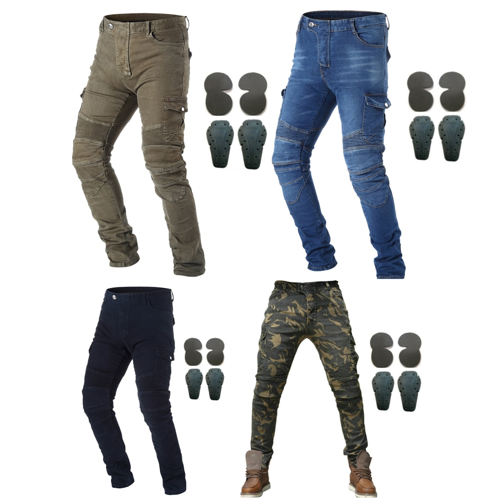 Motorcycle Riding Jeans With 4 X Armor Knee Hip Pads Motocross Racing Pants Motorbike Cycling Trousers Armor Protective Pants four seasons riding tribe motorcycle pants with knee hip pad moto motocross trousers body armor m l xl 2xl 3xl 4xl
