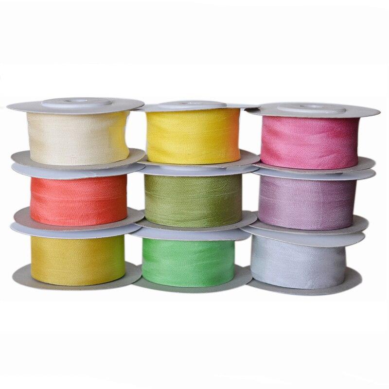 Colores cálidos, 25 mm 1 pulgada de ancho 100% cinta de seda de morera pura para bordado artesanal de doble cara fina de tafetán de seda