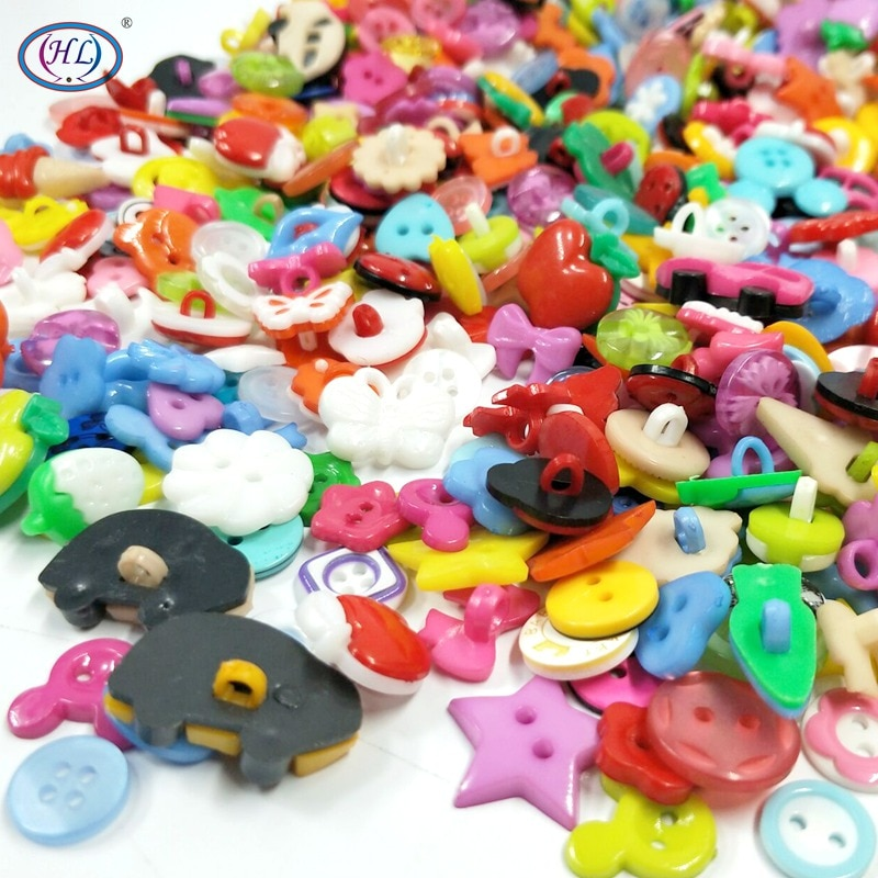 Real Sale HL 50pcs/100pcs Mix Shape Lots Colors Diy Scrapbooking Cartoon Buttons Plastic Children's Garment Sewing Notions