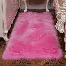Różowy kolor Faux pokrowiec na krzesło z owczej wełny 17 kolorów ciepły włochaty wełniany dywan poduszka na siedzenie długie futro skóry zwykły puszyste dywany zmywalne