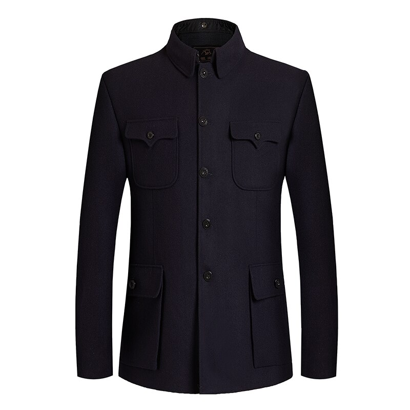 Personality Mao Suit Blazer Man Zhongshan Coat Collar Black Tunic Suit Wool Blend Sun Yat Sen Suits Men Classical Tweed Blazers