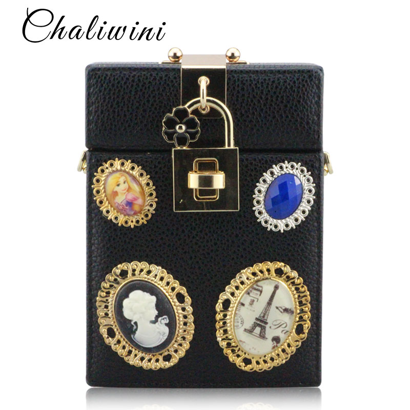 Chaliwinfashion preto café plutônio embreagem corrente noite saco caixa de bloqueio saco de embreagem senhoras boutique sacos pacote feminino mini caixa bolsas