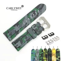 carlywet 22 24mm camo grey light green black waterproof silicone rubber replacement watch band strap for panerai luminor