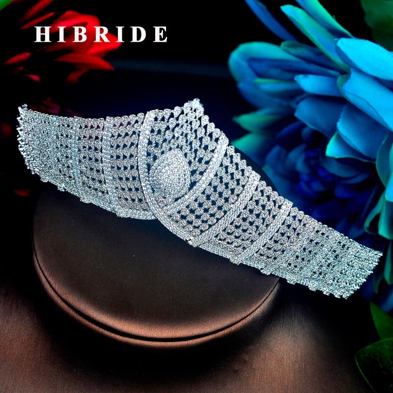 HIBRIDE Sparkling Luxury Design Women Tiara Crown Bridal Hair Accessories Baroque Wedding Crystal Pageant Tiaras And Crowns C-94