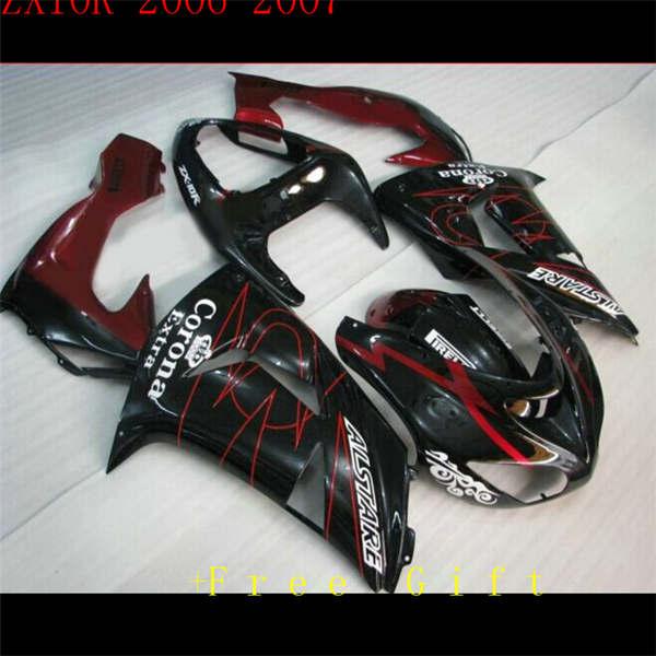 Fairings ل ZX10R ZX-10R سنة 06 07 2006 2007 ABS البلاستيك دراجة نارية هدية طقم هيكل السيارة أسود أحمر