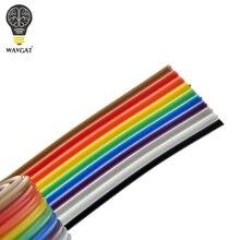 1 metr 1.27mm rozstaw Pitch10 WAY 10P płaski kolor tęczowy kabel taśmowy drut do PCB DIY 10-stykowy Pin