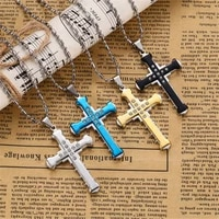 4 colors hot sale dark knight cross necklace for men jesus crystal cross pendant necklace chain friendship necklace jewelry