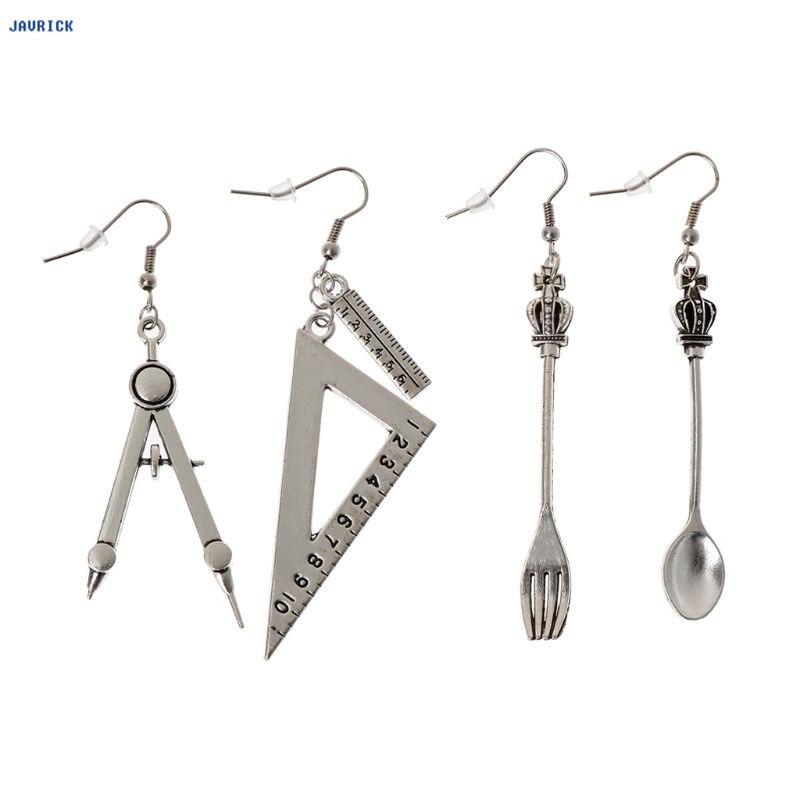 Jakrick Harajuku, cuchara, tenedor, regla triangular, pendientes asimétricos, joyería de plata antigua