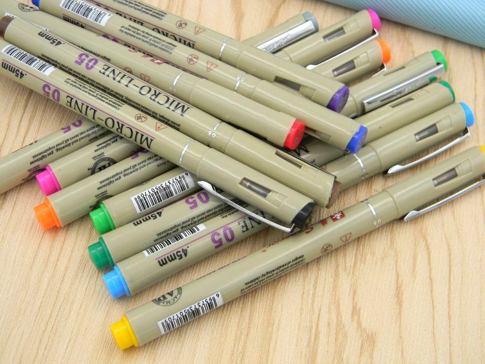 Pinceles para dibujo de Micro líneas finas, 12 unidades de colores, 0,5, para dibujo de Arte de dibujos animados