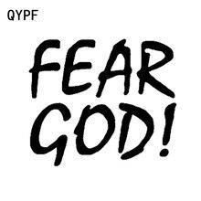 QYPF-autocollant de voiture en vinyle   Étiquette de décoration, noir, argenté, 14cm x 13.2cm, peur dieu chrétien