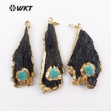 WT-P1132 en gros personnalisé Multiple Kyanite noire avec pendentif à breloque avec garniture en or fabrication de bijoux de mode