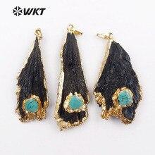WT-P1132, venta al por mayor, personalizado, kyanita negra con colgante de encanto con Adorno de oro, fabricación de joyas de moda