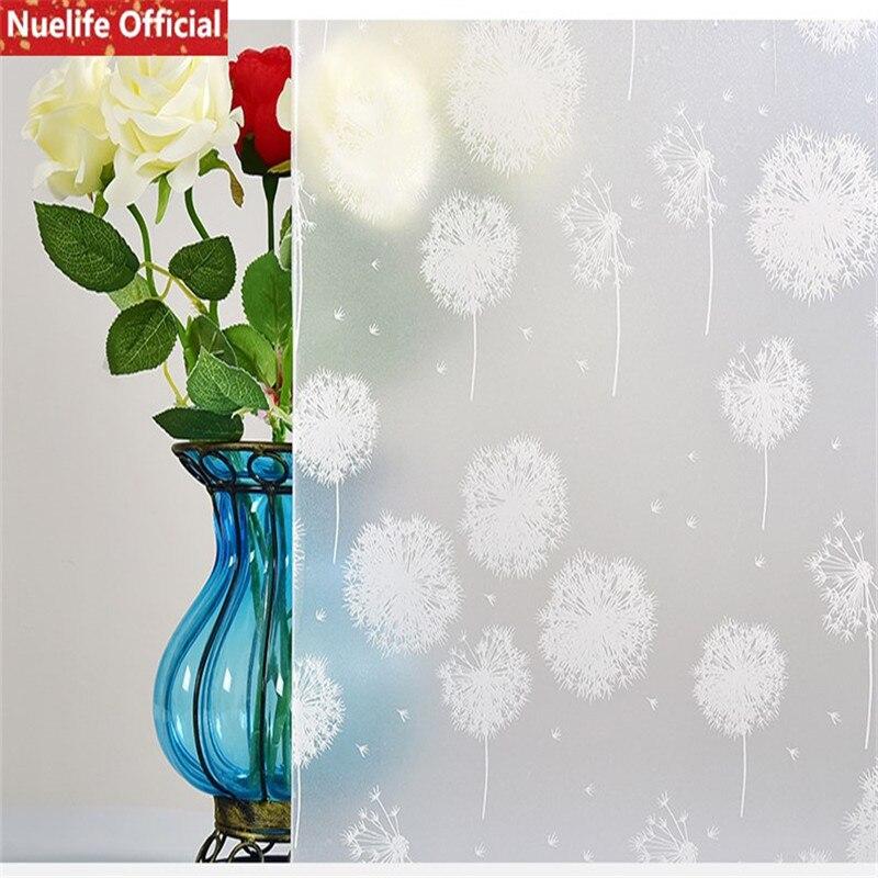 Película de vidrio adhesivo con patrón de flores de diente de león blanco de 60x500cm para baño, oficina, cocina, sala de estar, dormitorio, ventana opaca