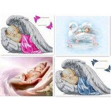 5D bricolage dange pour bébé   Broderie diamant complète, point de croix, photos mosaïque en strass, décoration de maison