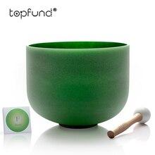 Bol chantant en cristal de Quartz givré de couleur verte Chakra coeur TOPFUND F 10