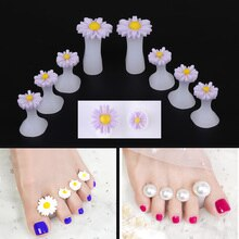 8 pièces Silicone souple orteil séparateur pied doigt diviseur forme manucure pédicure soin Nail Art outil porte-fleurs accessoire