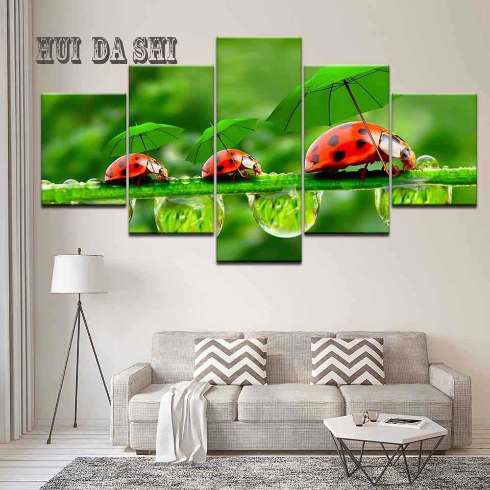Pintura abstracta Animal mariquita lienzo pinturas pared arte decoración para el hogar para sala de estar HD impresión al óleo Animal Poster cuadros Mural