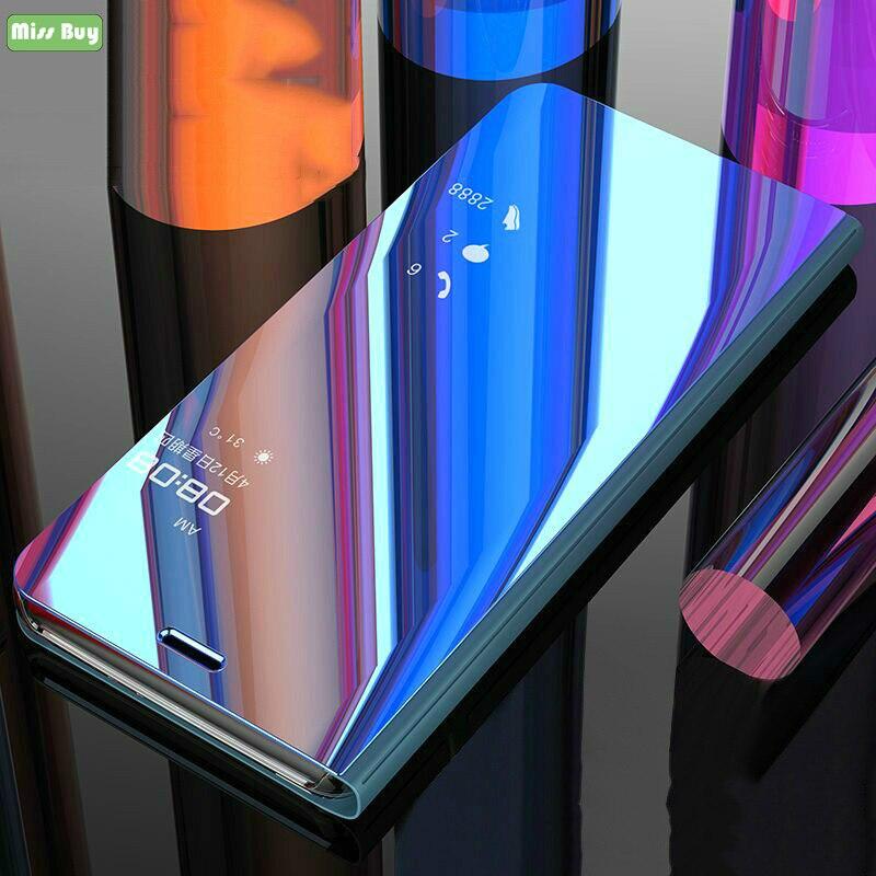 Missbuy Smart Spiegel Filp Abdeckung Telefon Fall für Samsung Galaxy A8 A6 Plus A7 A9 J4 J6 C7 C9 Pro s10 Lite S9 Leder Stand Capa