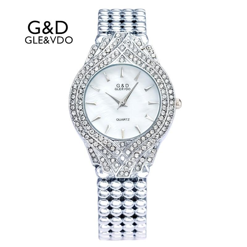 ¡NOVEDAD DE 2017! relojes para mujer G & D GLE & VDO, relojes de pulsera de plata para mujer, relojes de pulsera de cuarzo informales a la moda, relojes femeninos