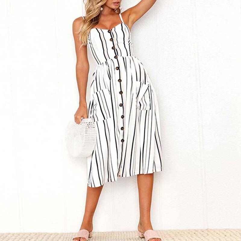 2019 Casual vestido blanco sin mangas botón elbise ropa de verano para mujeres despojado vestido branco de verano femenino ropa de mujer